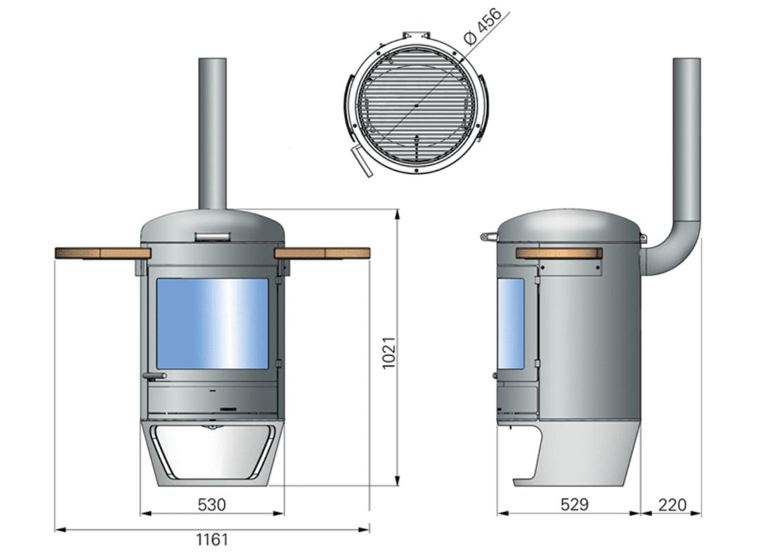 Dimensions du poele Terrasse Gourmet H500 de Chesneys