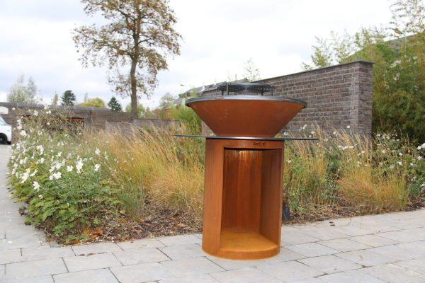 Plancha Brasero en acier Corten avec réserve à bois